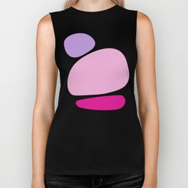 Fun retro style abstract print in soft pastel colours Biker Tank