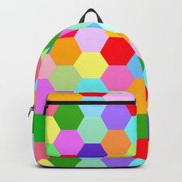 Multicoloured Hexagon Pattern Backpack