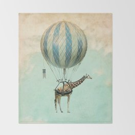Sticking your neck out, giraffe Throw Blanket