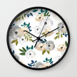 Sweet Blooms - Blue & Cream Wall Clock