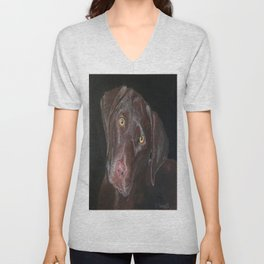 Inquisitive Chocolate Labrador Unisex V-Neck