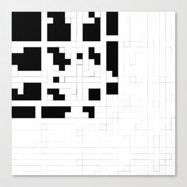 Monochrome Pixels Canvas Print
