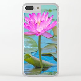 Pink Water Lily Flower - Nature Photography Clear iPhone Case