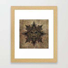 Ancient Stone Mayan Sun Mask Framed Art Print