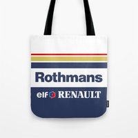 f1 Tote Bags featuring Williams F1 Rothmans Ayrton Senna by Krakenspirit