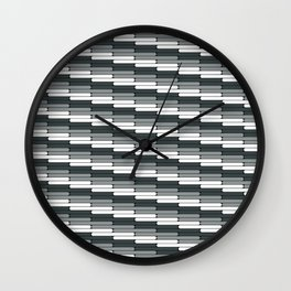 Staggered Oblong Rounded Lines Pattern PPG Night Watch Pewter Green Wall Clock