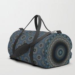 Detailed mandala in grey and blue tones Duffle Bag