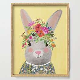 Rabbit with floral crown Serving Tray