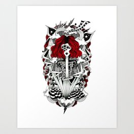 ink illustration psychedelic red head rock'n'roll girl Art Print