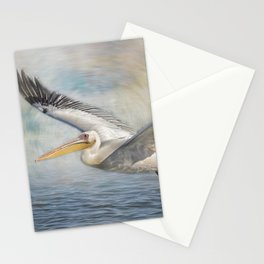 Flight of a Great White Pelican Stationery Cards