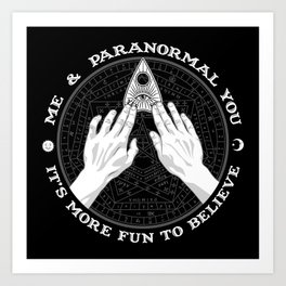 Me & Paranormal You - James Roper Design - Ouija B&W (white lettering) Art Print