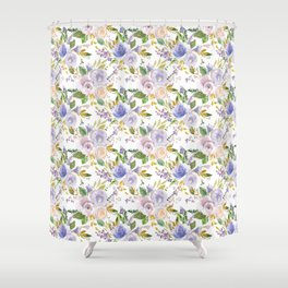Blush pink lavender lilac green watercolor floral Shower Curtain
