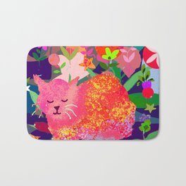 Sleeping Cat with Abstract Background Bath Mat