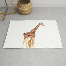 Giraffe Art - A Mother's Love - By Sharon Cummings Rug