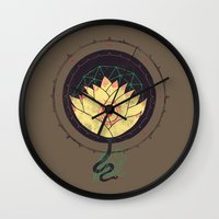 lotus Wall Clocks featuring Lotus by Hector Mansilla
