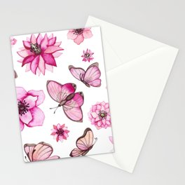 Pretty Pink Flowers & Butterfly's Stationery Cards