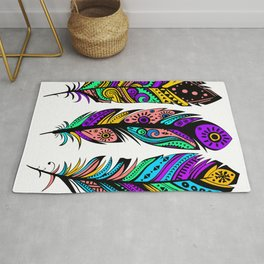 Colorful Abstract  Tribal Feathers Illustration Rug