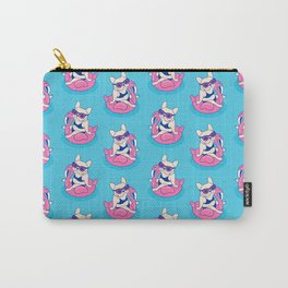 Frenchie enjoys Summer on Flamingo Pool Float in swimming pool Carry-All Pouch