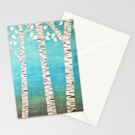 Turquoise birch forest Stationery Cards