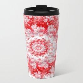 Candy Cane Flower Swirl Fractal - abstract Art Travel Mug