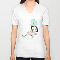 gameboy V-neck T-shirts featuring Gameboy Babe by A leskiweejus