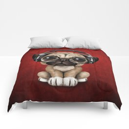 Cute Pug Puppy Dj Wearing Headphones and Glasses on Red Comforters