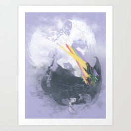Clash of the sky Dragons Art Print