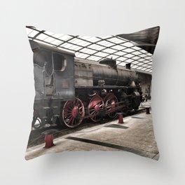 steam locomotive inside the train station Throw Pillow