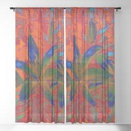 Blue Flowers Sheer Curtain
