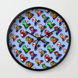 Super Mar!o Kart | blue sky | vintage retrogaming pattern Wall Clock