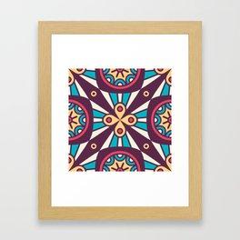 Purple Star Mosaic Boho Pattern Framed Art Print