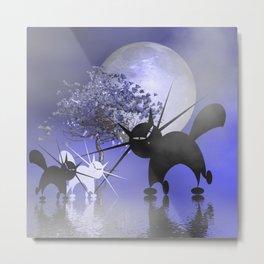 mooncats in a foggy night Metal Print