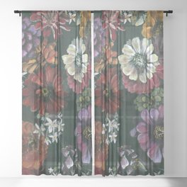 Bouquet of Florals Sheer Curtain
