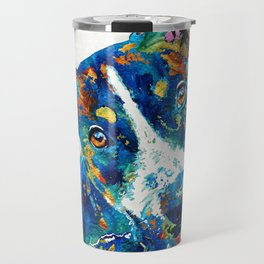 Colorful Dog Art - Happy Go Lucky - By Sharon Cummings Travel Mug