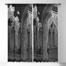 Gothic Cloister of Saint-Pierre, La Romieu, France black and white photograph / art photography Blackout Curtain