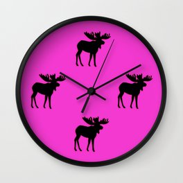 Bull Moose Silhouette - Black on Pink Wall Clock