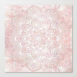 Mandala Yoga Love, Blush Pink Floral Canvas Print
