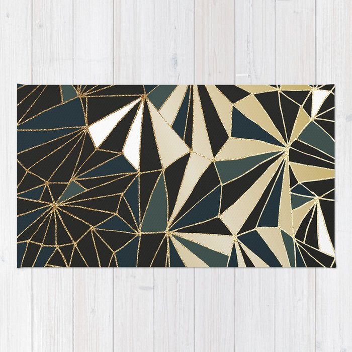 New Art Deco Geometric Pattern Emerald Green And Gold Rug