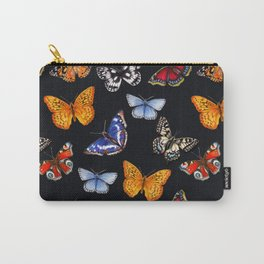 Butterflies On Black Carry-All Pouch