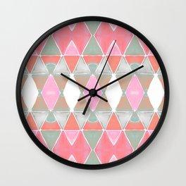 Art Deco Triangles Coral Grey Wall Clock