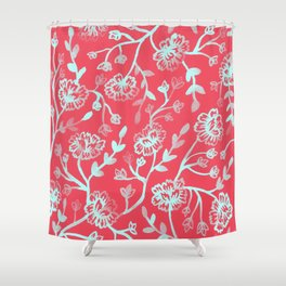 Watercolor Peonies - Guava Mint Shower Curtain