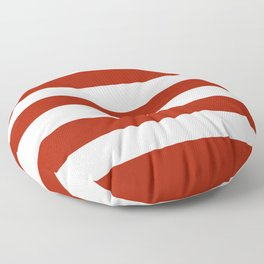 Rufous - solid color - white stripes pattern Floor Pillow