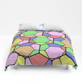 Stained Glass Tortoise Shell - Geometric, pastel, hexagon patterned artwork Comforters