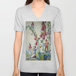 """Foxglove Hat Shop"" by Margaret Tarrant Unisex V-Neck"
