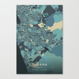 Tijuana, Mexico - Cream Blue Canvas Print