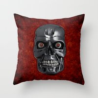 terminator Throw Pillows featuring Terminator Monochrome by Leslie Philipp