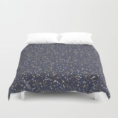Speckles I: Dark Gold & Snow on Blue Vortex Duvet Cover