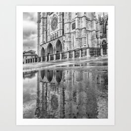 Leon Cathedral Reflection Art Print