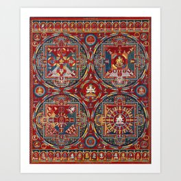 Tibetan Four Mandalas of the Vajravali Series Art Print