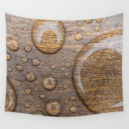 Water Drops on Wood 3 Wall Tapestry